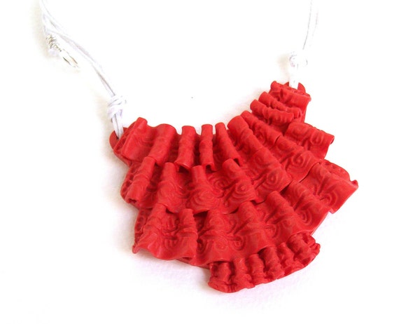 polymer clay bib necklace - The Red Jabot - Collar necklace collection, red faux ruffles on white cotton cords, EtsyHandmade, summer