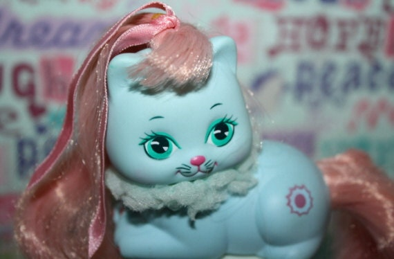 80s Mattel My Little Pretty Kitty Pretties BLUE with PINK Hair 1989