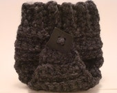 Newborn Baby Diaper Cover - Wall Street Charcoal Grey Chunky / Big Button - Great Photo Prop - Wool Blend - READY to SHIP - PRIORITY Mail