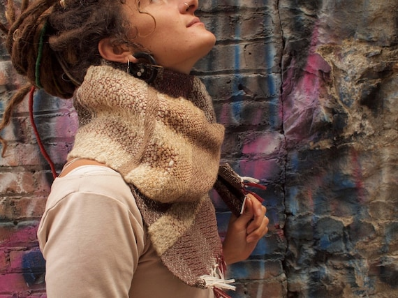 Hand Spun Chunky scarf - in natural colors - hand woven by me