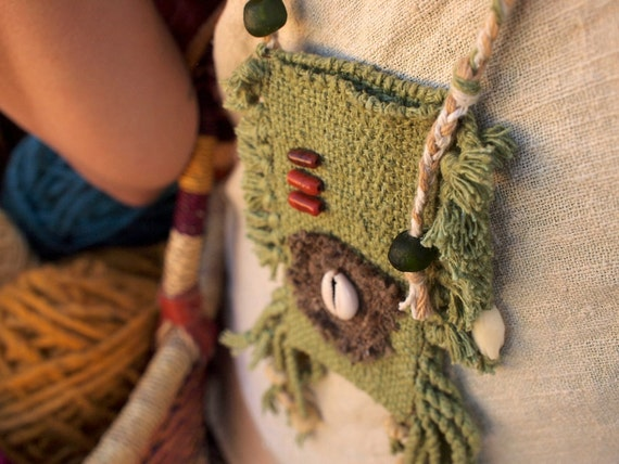 Fiber Treasure Pouch - Hand Woven Silk Fiber Art Necklace