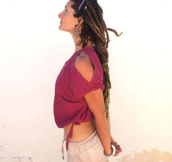 Shoulder Peek Raw Silk Shirt in Bougainvillea Pink