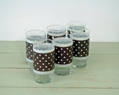 ON SALE Vintage Brown and White Polka Dot and Lace Tumblers Glasses Juice Cups Set of Six