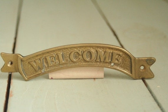 Brass Welcome Sign Banner for Front Door