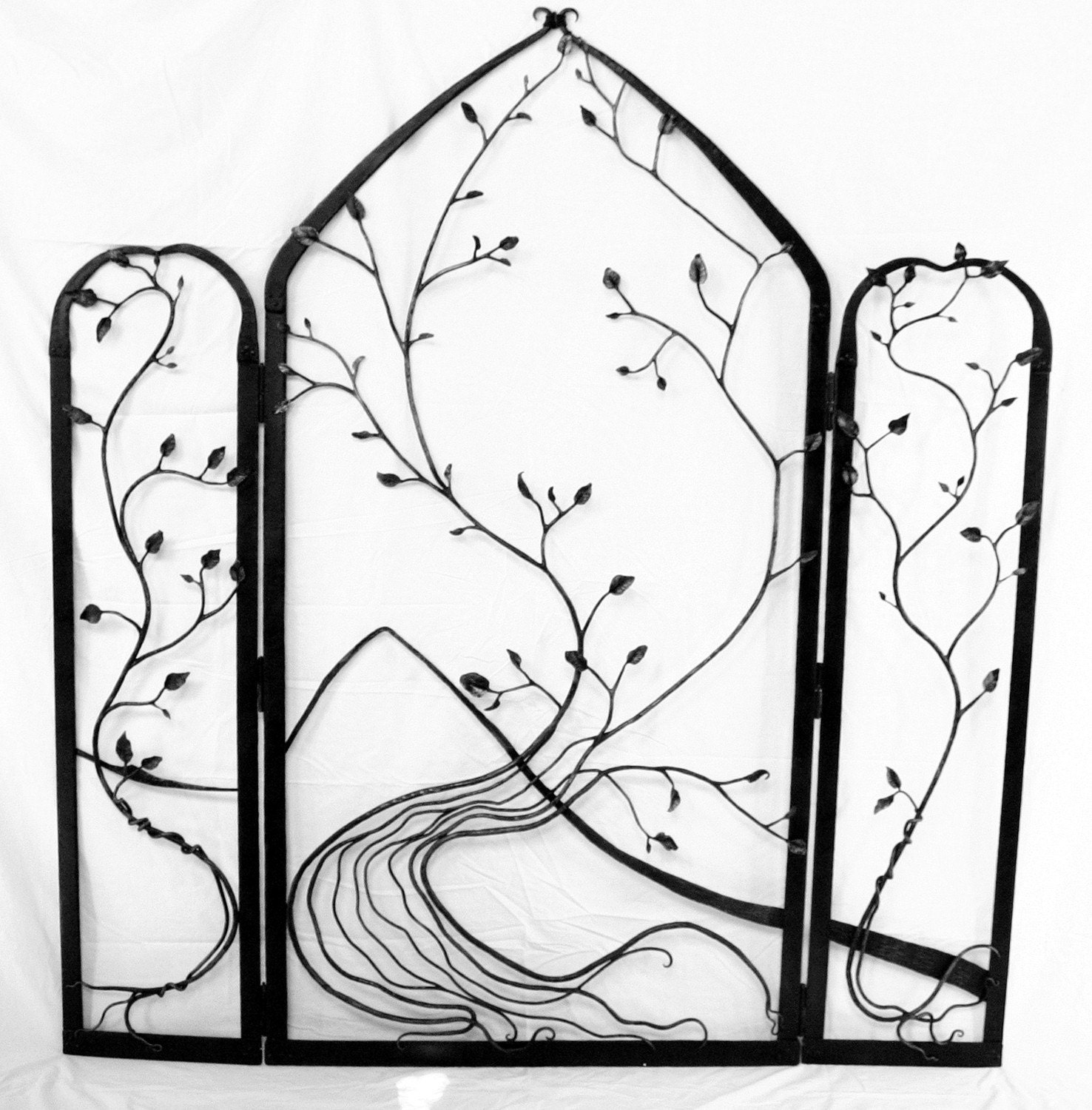 Wrought iron room divider wall art for Room divider art