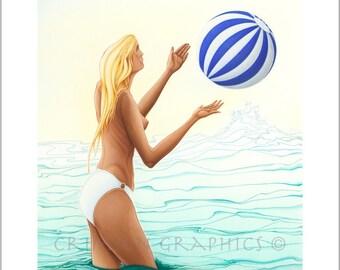 Blond with beachball