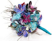 Peacock Wedding Fabric Flower Bouquet - Alternative Bridal Flowers - Custom Bouquet -  Feathers, Beaded - by lovemimo on etsy