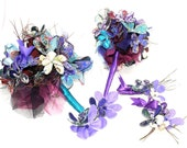Peacock Wedding bouquet and accessories set-  1x Brides Bouquet, 2 x Bridesmaids Bouquets, 2 x Button Holes and 2 x Corsages