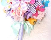 Bridal Bouquet  Alternative Flower Wedding Bouquet for Spring Wedding in Yellow, Purple, Pink, Gingham