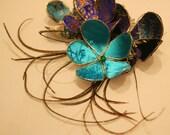 Flower hair slide, hair comb, fascinator, hair accessory- wedding, bridesmaid, bride, flower girl - peacock, blue, turquoise
