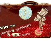 Vintage Upcycled Small Suitcase - Mad Hatter - Alice in Wonderland - Old Luggage by lovemimo on etsy