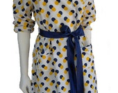 1950s Vintage LUCY Couture SUN & MOON Polka Dot Duster M L Yellow Eclipsed Navy Blue Polka Dot Swimsuit Cover Up Robe 3/4 Sleeve Tailored Belted Long Jacket with Pockets by Saks Fifth Avenue Easy Bold Bubbly Dramatic Rockabilly Style