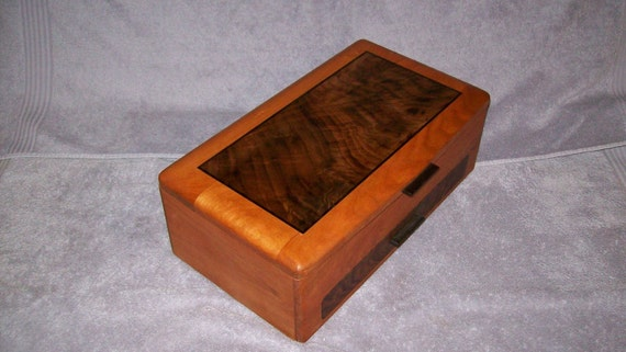 Jewelry Box Wooden- Cherry with Fancy Walnut  Top-The Elite Collection