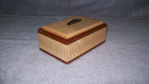 Fiddle Back Maple 6x4 with Wenge and Rose Wood Inlay Box makes a nice Treasure or Keepsake box
