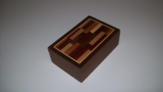 Walnut Parquet Pattern Box Smaller Design