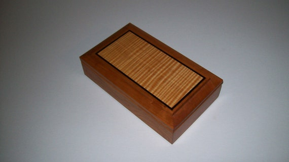 Wooden Inlay Ring and Earring Box-Cherry and Fiddle Back Maple