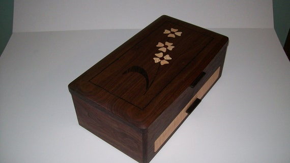 Walnut and Dogwood Design Inlay Jewelry Box-The Elite Collection