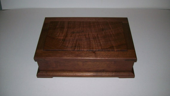 Fancy Walnut Jewelry Box with Mirror under lid from our Prestige Collection