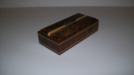 Fancy Walnut with Maple Inlay 4x8 Treasure Box