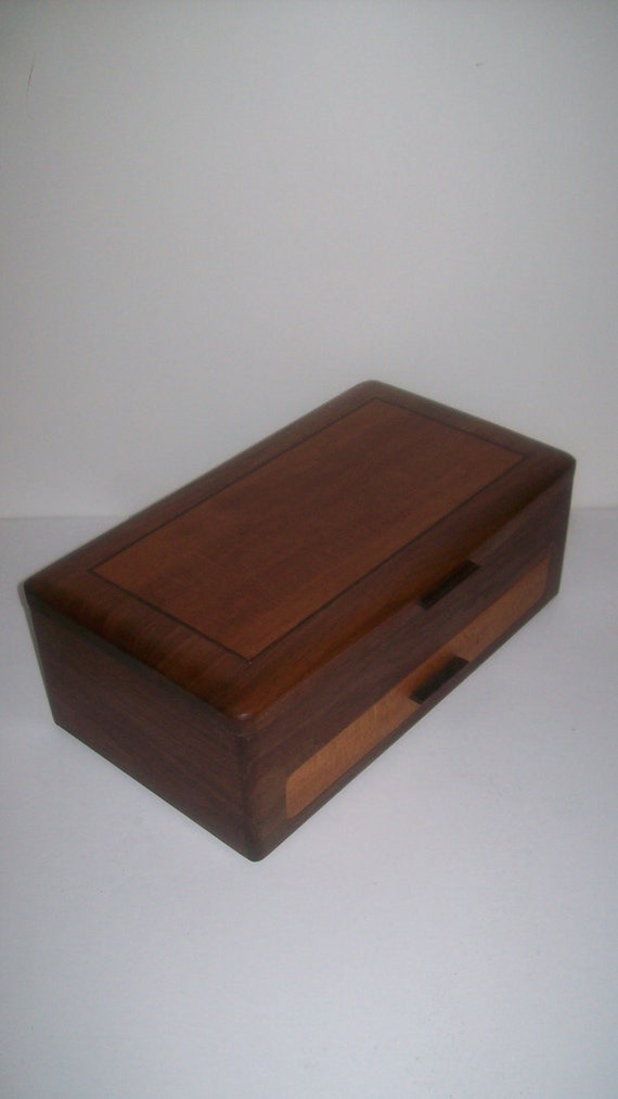 Inlay Wood Jewelry Box-Walnut and Sycamore- The Elite Collection 16 1/2''x10''x6''