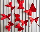 3D Wall Butterflies, 20 Poppy Red Butterfly Silhouettes for Home Art Decor, Nursery, Children's Room