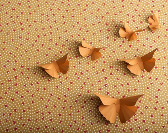 3D Butterfly Wall Art: Ochre Silhouettes for Girls Room, Nursery, and Home Art Decor