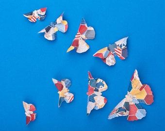 SALE! 3D Butterfly Wall Art: Americana Paper Butterflies for Wall Decor, Nursery, Children's Room