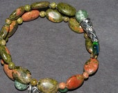 Unakite Beaded Bracelet Green, Brown, Stones