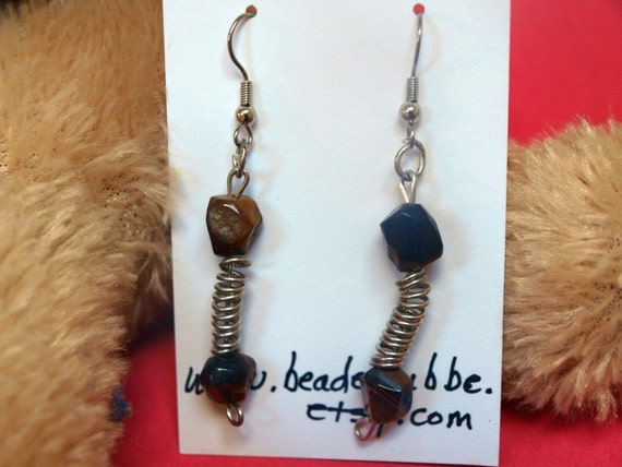 Wire Wrapped Tiger's Eye Earrings