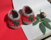 Baby Booties in Red and Gray with Buckeye and Leaves