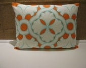 "12"" x 16"" Designer Pillow/Cushion Cover in Orange & Turquoise"
