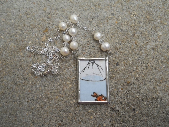 Heather Ross Goldfish in a bag soldered pendant necklace
