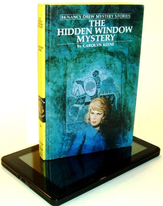 "Kindle Fire Case / Cover made from Nancy Drew ""Hidden Window Mystery"" book - converts to a stand"