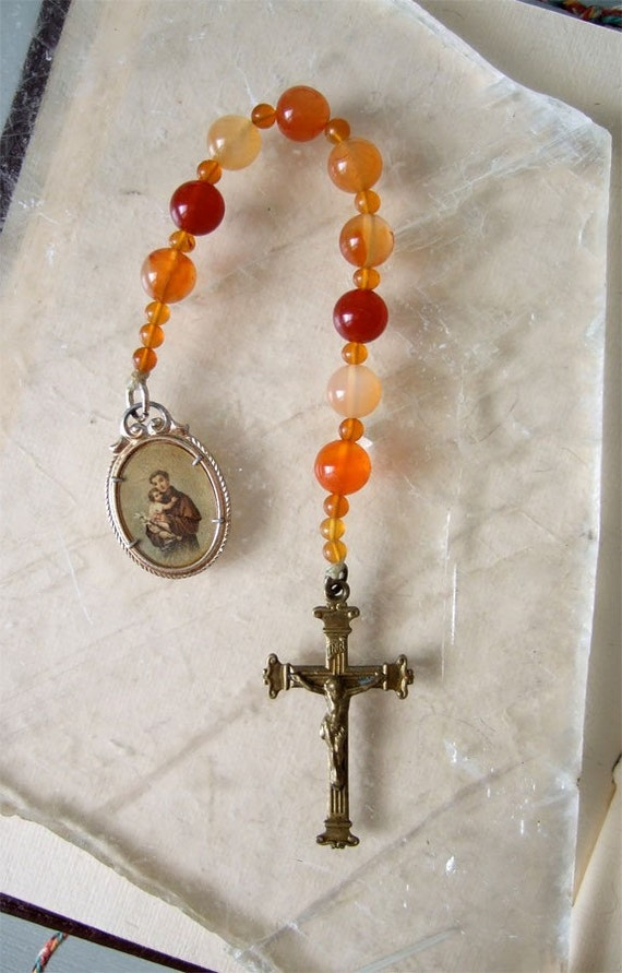 RESERVED for Cecilia: Carnelian Novena Chaplet with an antique Saint Anthony medal with Holy Cards