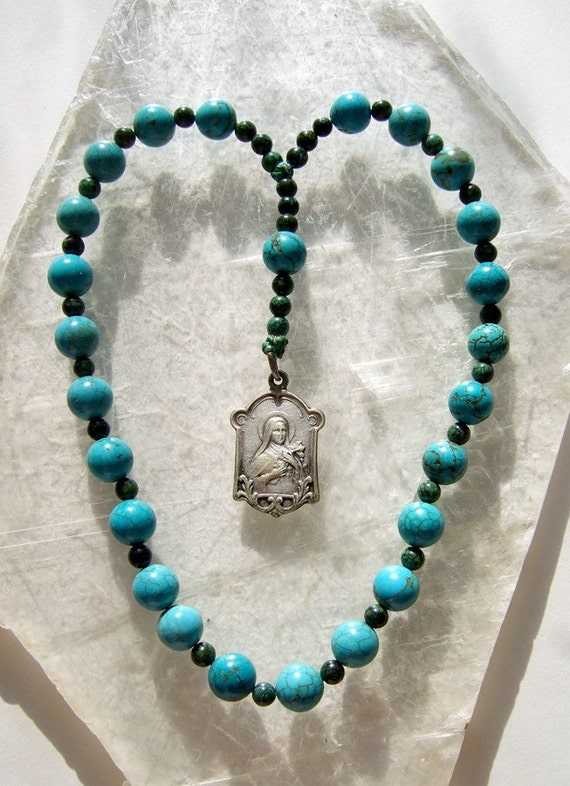 Turquoise Saint Therese Rosary Chaplet with St Therese Holy Card