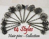 70pcs 14 Styles --(Hair  pins Collection)  Antique Brass Filigree Hair  pins Clip Cabochon Setting , NICKEL FREE  Wholesale