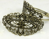 10 Pcs SALE  Adjustable Antique Brass Filigree Cuff  Bracelet Setting    ( CBS-1)