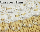 Big sale-50Pcs( 18 mm Diameter) -Round Clear Glass Cabochon- thick dome top gems for pendants - photo charms