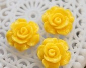 50% off -Wholesale Beautiful   Colorful Rose Flower Resin Cabochon   - -12mm(CAB-AK-14)
