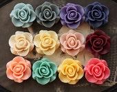 120PCS Wholesale Beautiful Mix Colorful Rose Flower Resin Cabochon   -12colors  -20mm(CAB-S -MIXSS--3)