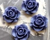 4pcs Wholesale Beautiful  Colorful Rose Flower Resin Cabochon    --20mm(CAB-S-4)