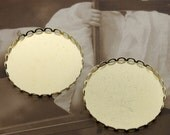 8Pcs 30mm Round Raw Brass Lace Edge  Cabochon  Base frame Base for making resin photo necklaces and pendants(SETHY-75)