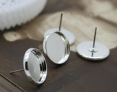 12mm  Silver plated  brass blank setting Post Earring With 12mm Round Pad  NICKEL FREE (EAR-35)