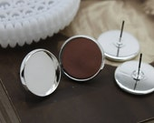 16mm Silver  plated  brass blank setting Post Earring With 16mm Round Pad  NICKEL FREE (EAR-37)