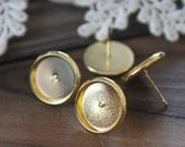 10Pcs 12mm  Gold plated brass blank setting Post Earring With 12mm Round Pad  NICKEL FREE (EAR-55)