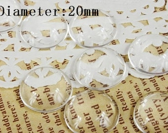 Big sale-100Pcs( 20mm Diameter) -SALE-Round Clear Glass Cabochon- thick dome top gems for pendants - photo charms