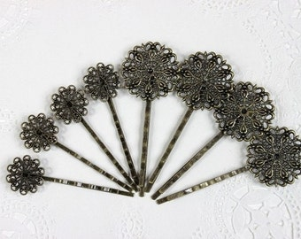 10Pcs Wholesale Antique Brass FiligreSetting   Hair  pins Clip (2 Styles)-high quality-NICKEL FREE-(Set--8)