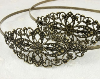 10Pcs Wholesale Adjustable Antique Brass Bronze Filigree Floral HeadBand Setting  NICKEL FREE (HBSB-1)
