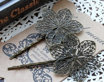 10pcs Wholesale Antique Brass Filigree Hair  pins Clip Setting NICKEL FREE(PINSS-23)