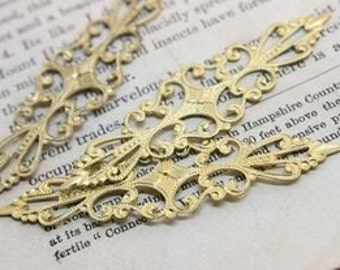 50pcs RAW Brass Filigree  Jewelry Stampings ConnectorsSetting Cab Base Connector Finding  (FILIG-RB-5)